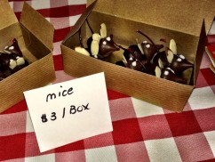 Chocolate Mice created for the 2014 Christmas Fair by Treasurer Emeritus Nancy Doane