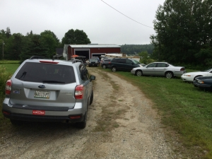 The driveway to Joe's barn in Sedgwick is packed with cars.